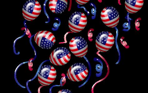 Balloons floating, American flag design