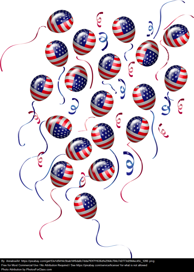 Balloons floating, American flag design