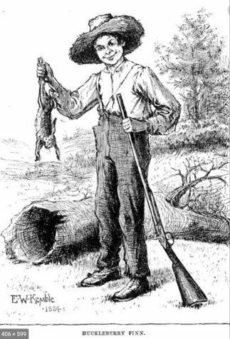 Drawing of Huck Finn from original text