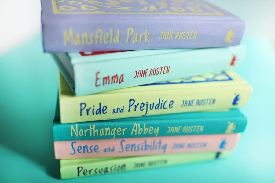Books by Jane Austen stacked