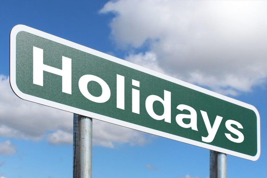 Holidays road sign