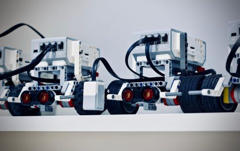 two small, mobile robots