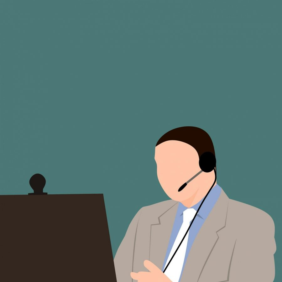 Illustration of teacher working online