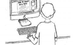 Cartoon of standing boy working on computer