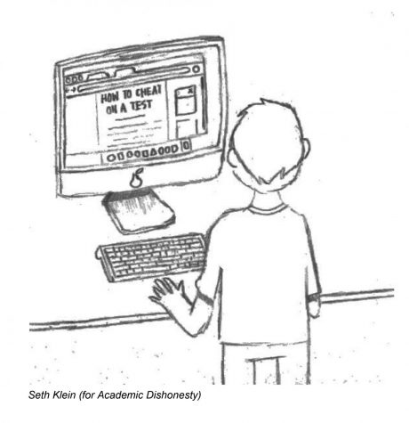Cartoon of standing boy working on computer