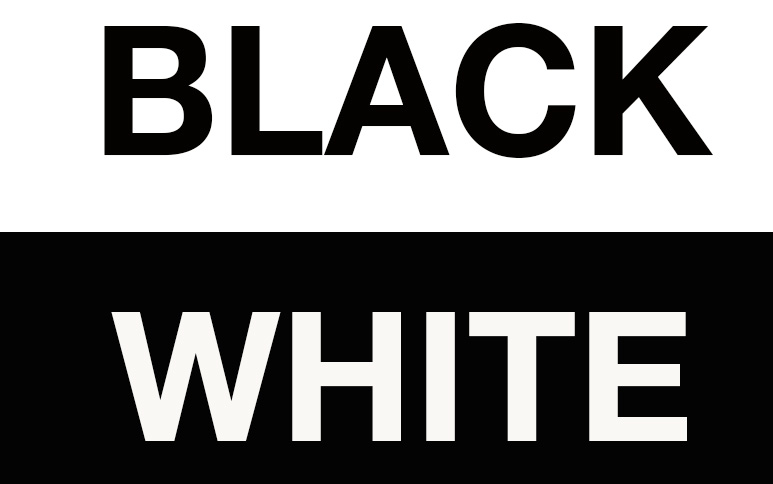 Graphic of words Black and White