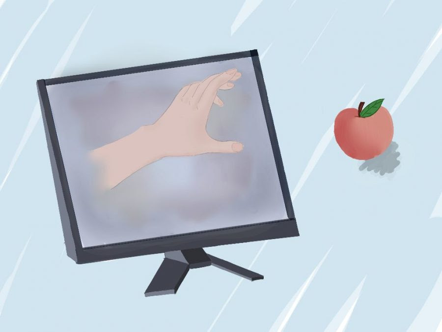 Graphic of computer screen, apple on desk