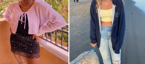Girls posed to show current fashion looks