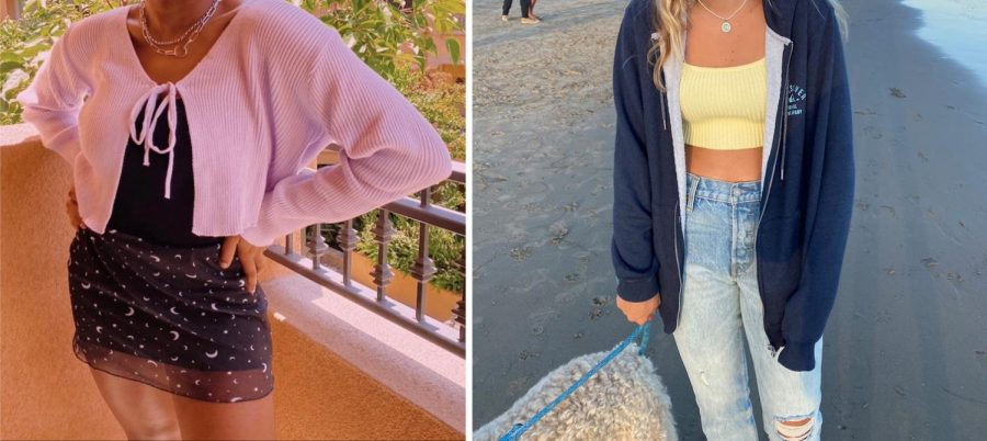 Miramonte student Peyton Mays striking a pose in a girly outfit with a pink cardigan, black mini skirt with stars and moons, and layered necklaces. Miramonte student Ingaborg Foutch, posing with a beachy look with ripped jeans, yellow crop top, oversized sweatshirt, all while on a beach!