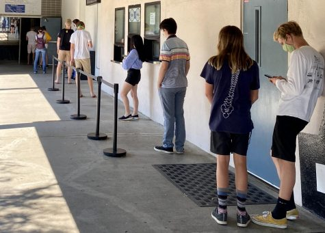 Students in line for textboos