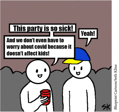 Cartoon of students at party