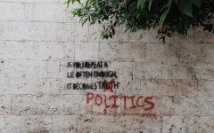 Graffiti sign on politics vs truth