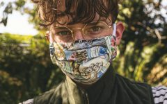 Teen boy with cloth mask