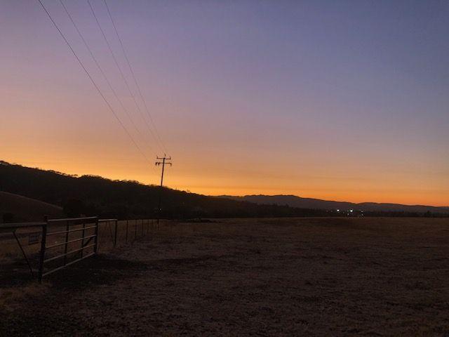 Smoke-filled sky at sunset