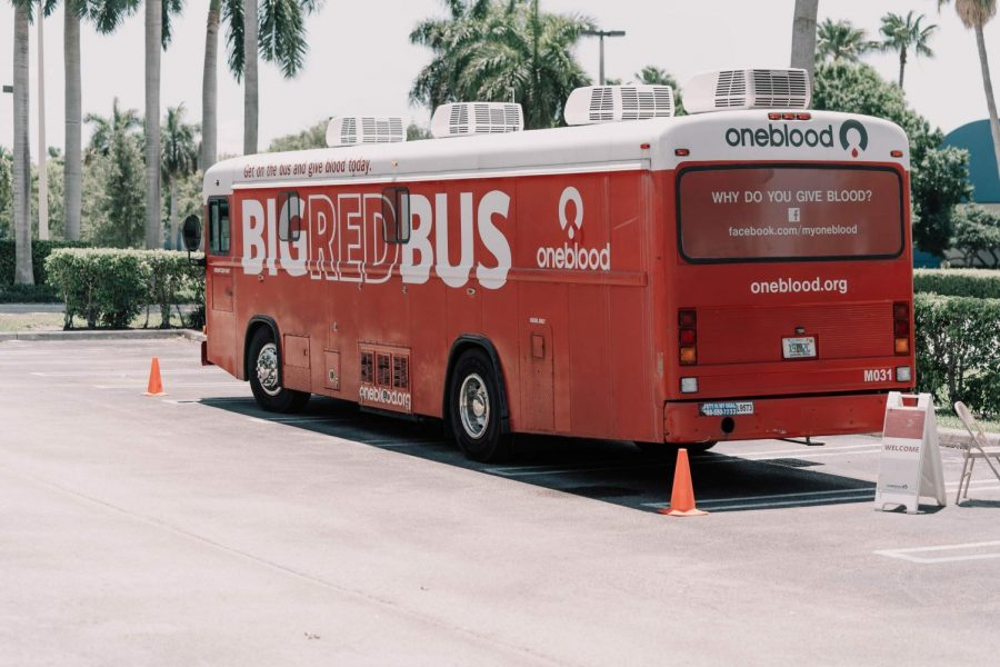 Big red bus for blood drive