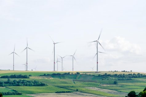 Windmills over farmland