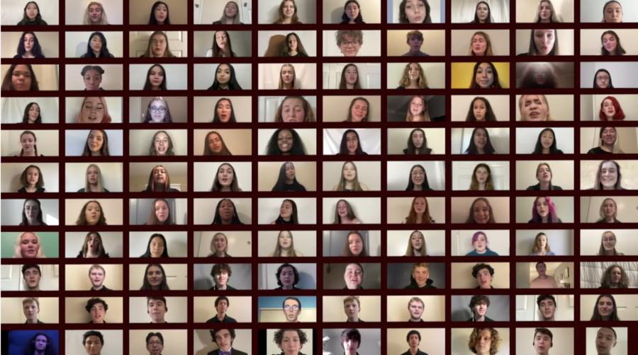 Zoom montage of choir members performing