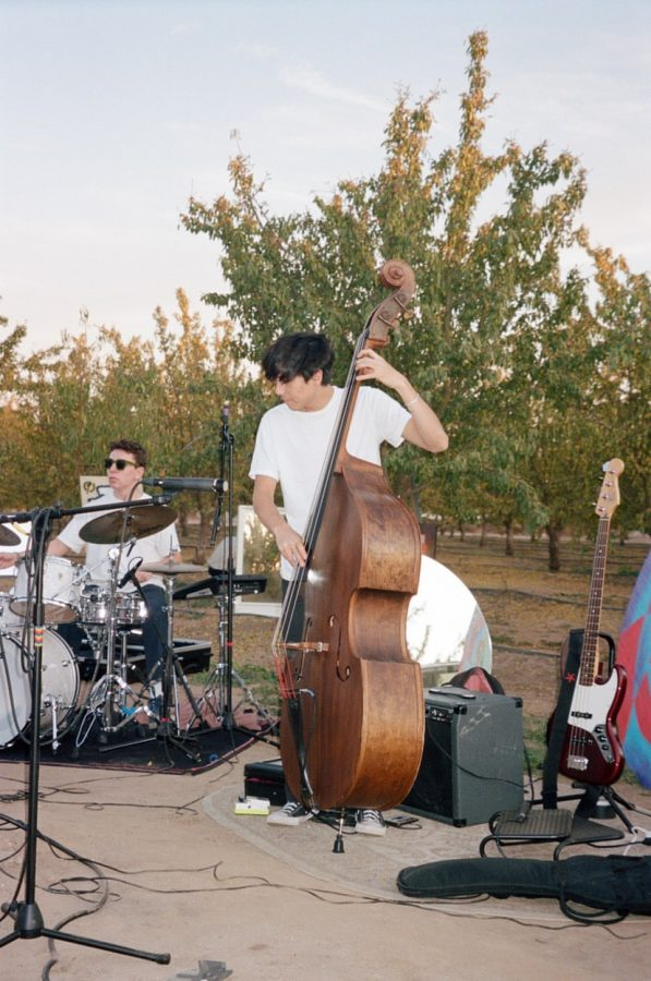 Teen standup bass player in jazz band