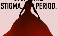 Poster art of woman in gradient red flowing dress