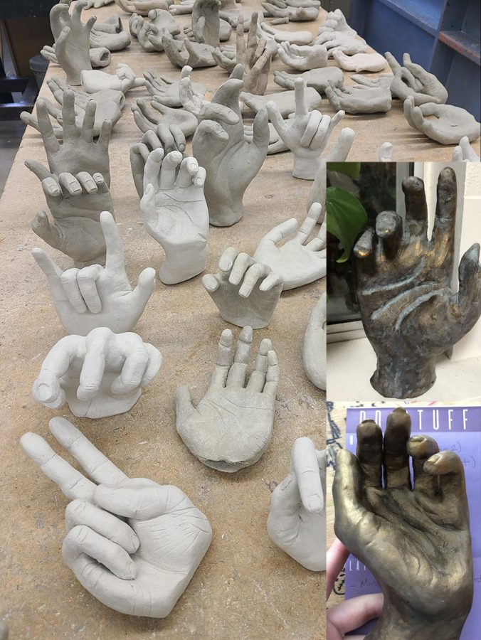 Ceramic artwork of hands