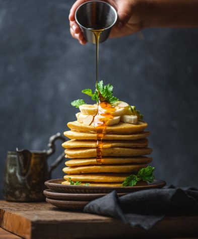 Large stack of pancakes