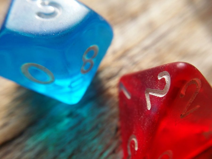 Gaming dice red and blue