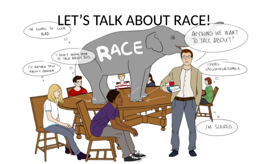 Cartoon showing race as elephant in the room