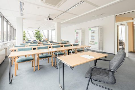 Empty classroom with tables