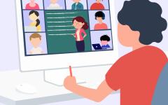 Cartoon style of Zoom class meeting