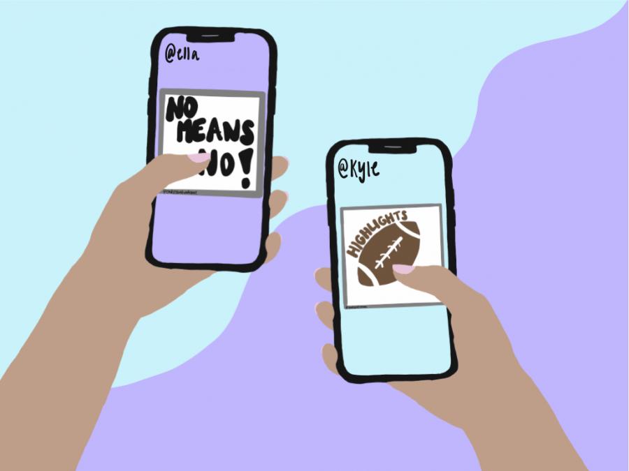 Cartoon of phones saying No means no