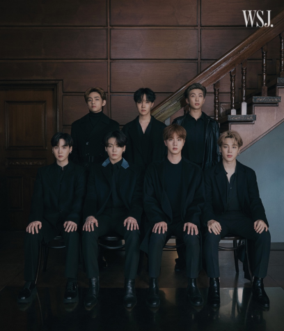 Magazine cover with BTS