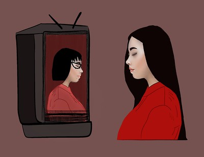 Art of Asian girl watching alternate self on TV