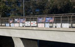 Protest signs on overpass